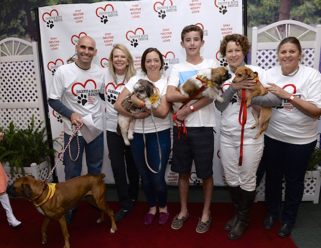 Volunteers introduce the adoptable dogs to the guests of the 7th Annual Danny & Ron's Lip Sync