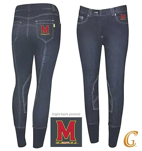 riding pants college logo