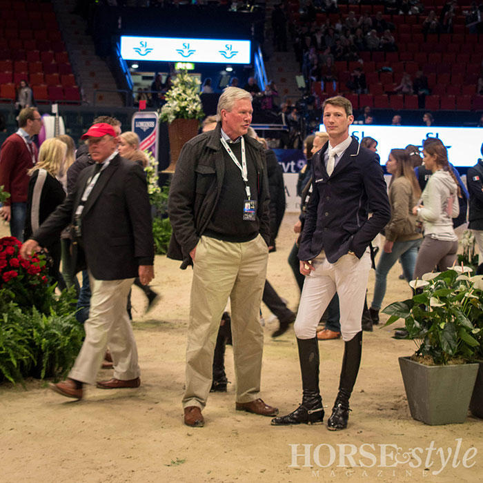 German rider Daniel Deusser, WCF 2014 champion, planning his ride  during the course walk for the Speed Round