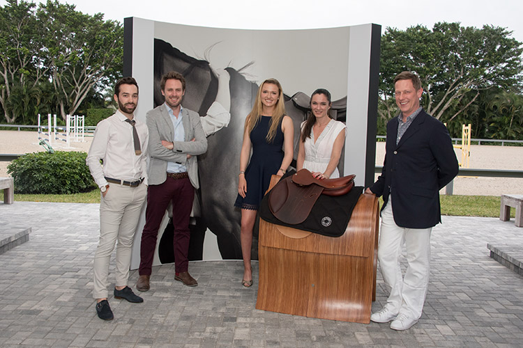 (L–R) Ugo Borao, Cyril Valtat, Lillie Keenan, Marion Larochette and Peter Malachi at the Hermès preview event for the new Allegro saddle in Wellington, FL on March 3rd